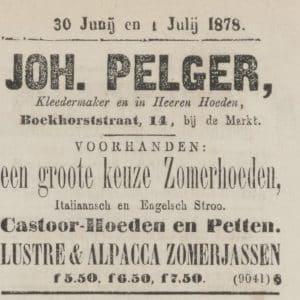Advertentie, Pelger, 1878