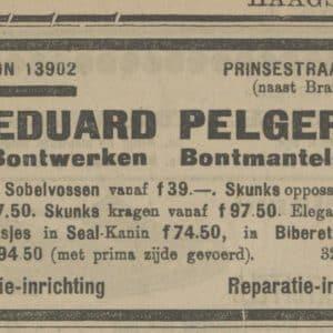 Advertentie, Pelger, 1924