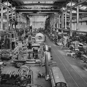 Reineveld, fabriekshal, draaierij, 1953