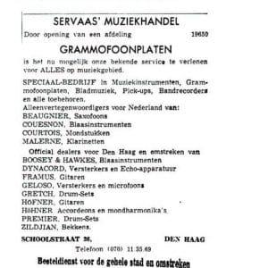 Servaas, muziekwinkel, advertentie, 1963