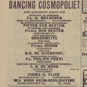 Shadowlite, Musschenbrioekstraat 39-41, Dancing Cosmopoliet, 1930