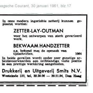 Drukkerij Smits, advertentie, 1961