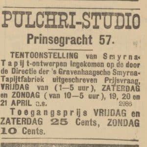 Smyrnafabriek, tapijten, Loosduinseweg, Pulchri Studio, 1901