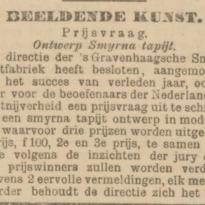 Smyrnafabriek, tapijt, Loosduinseweg, prijsvraag, 1901