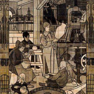 Tegeltabelau, winkel Rozenburg, ca. 1895