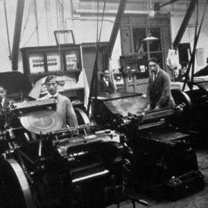 Drukkerij Trio, drukkerijzaal, Jffrouw Idastraat, ca. 1920