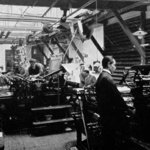 Trio, drukkerijzaal, Juffrouw Idastraat, ca. 1920