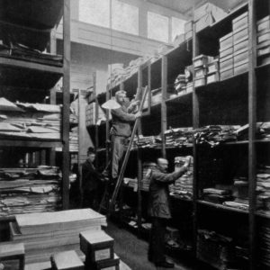 Drukkerij Trio, papiermagazijn, Juffrouw Idastraat, ca. 1920