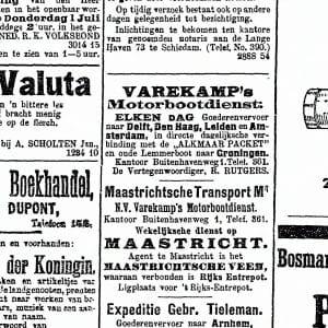 Varekamp, beurtvaartbedrijf, Fijnjekade, 1920