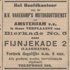 Varekamp, beurtvaart, Fijnjekade 2, 1914