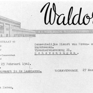 Waldorp Radio, briefhoofd, Waldorpstraat, 1942