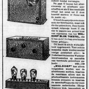 Waldorp Radio, bloksysteem, 1930