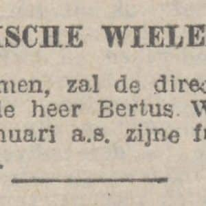 Bertus Waterreus, Rijswijkse Wielerbaan, 1927