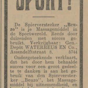 Waterreus, advertentie Beuzo, 1914