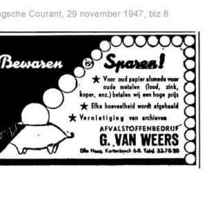 Van Weers, oud papier en metalen, Kortenbos, 1947