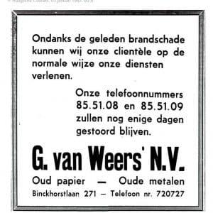 Firma Weers, oud papier, Binckhorstlaan, 1962