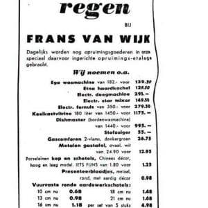 Van Wijk, metaalwaren, Vlamingstraat 24, 1954