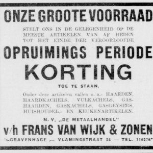 Van Wijk, metaalwaren, Vlamingstraat 24, 1941