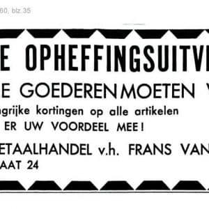 Van Wijk, metaalwaren, Vlamingstraat 24, opheffing, 1960