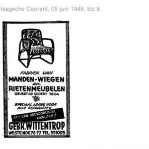 Wittentrop, rieten manden en meubelen, Westeinde 75-77, 1948