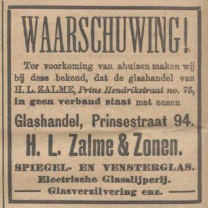 Zalme, advertentie, 1909