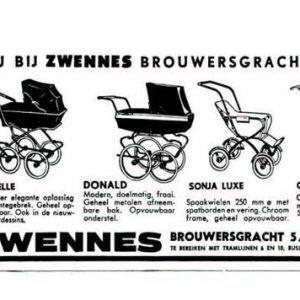 Krantenadvertentie, Zwennes, Brouwersgracht,1964