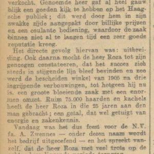 Zwennes 25 jaar,_Brouwersgracht 5a, 1930