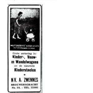 Zwennes, Brouwersgracht, kinderwagens, 1949