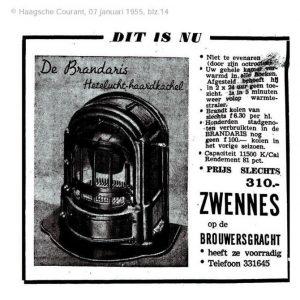 Advertentie Zwennes harden, Brouwersgracht, 1955