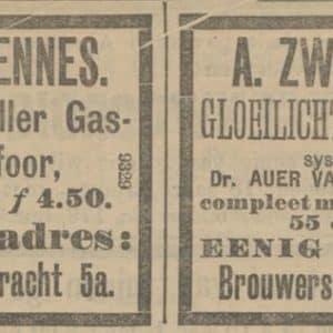 Krantenadvertentie, Zwennes, Brouwersgracht,1905