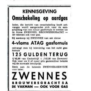 Zwennes, aardgas fornuis, 1965