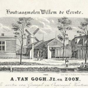A. van Gogh, Houtzaagmolen, Loosduinseweg, ca. 1850
