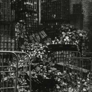 Abee Salades Jacobastraat na de brand, 1987