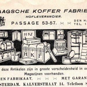 Advertentie, Haagse Kofferfabriek, 1915