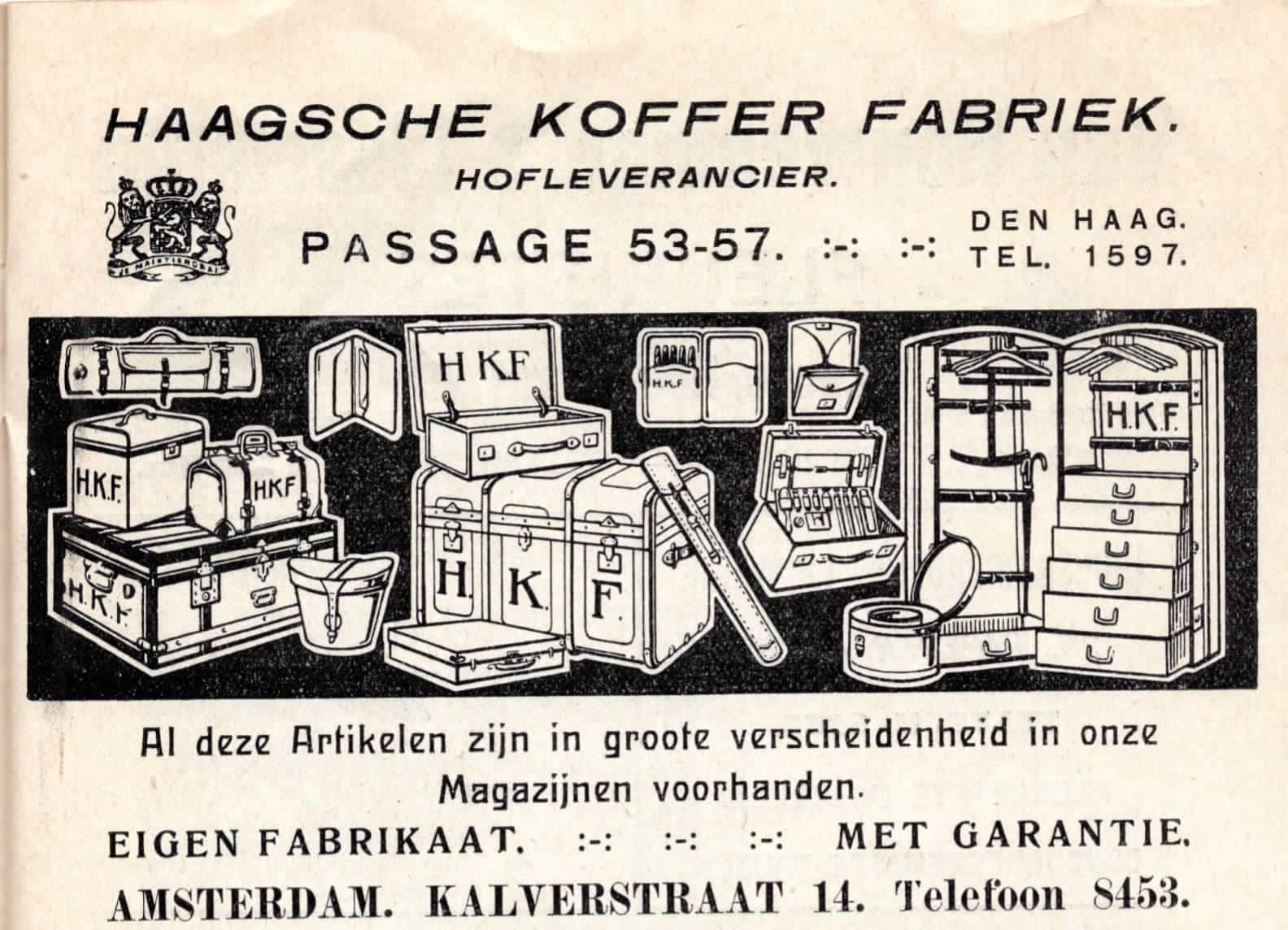 Reclame Haagsche Kofferfabriek, 1915