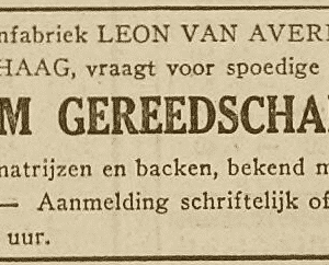 Avermaete, houtschroevenfabriek, advertentie 1929