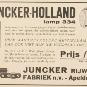 Advertentie Juncker fietsverlichting en Elvea dynamo 1938