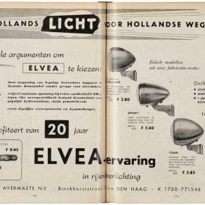 Advertentie koplampen en dyname Elvea, 1955