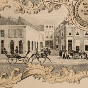 Rijtuifabriek Hermans, het fabriek, affiche, ca. 1860