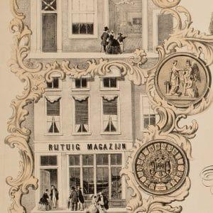 Rijtuifabriek Hermans, het magazijn, affiche, ca. 1860