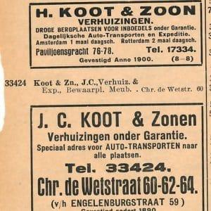 Koot, H., verhuizers (ca. 1900 – 2015)