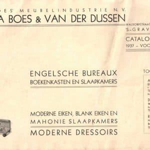 folder Boes van der Dussen, meubelfabriek, 1937