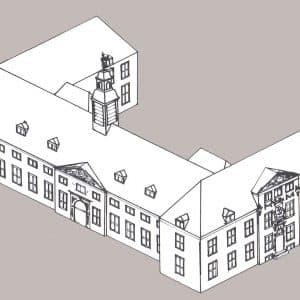 Geschutgieterij, reconstructietekening gebouw, Nieuwe Uitleg, 1985