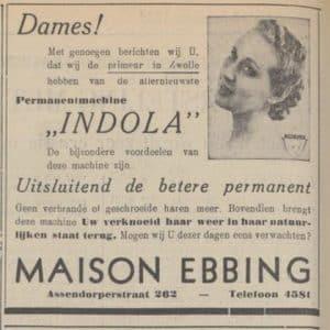 Indola-productadvertentie, 1939