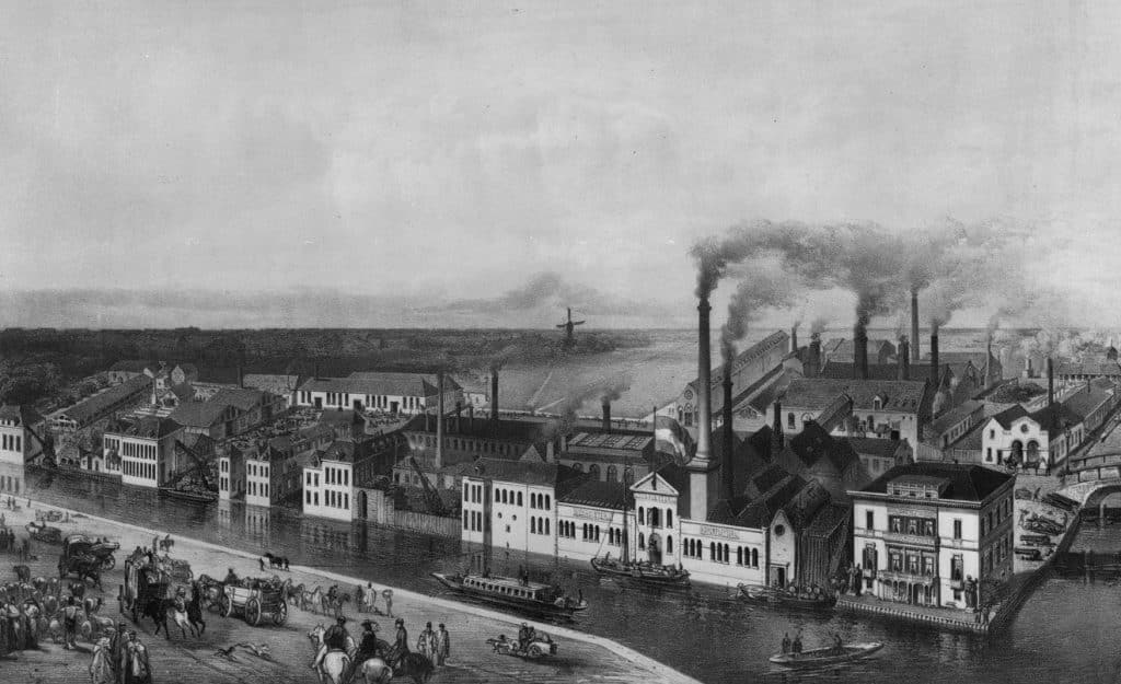 Het fabriekscomplex van L.I. Enthoven & Co aan de Trekvliet, ca. 1870.