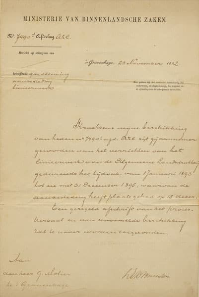 opdrachtverstrekking ministerie 1892