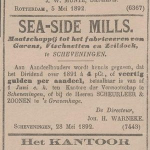 Sea-side mills, advertentie, 1894